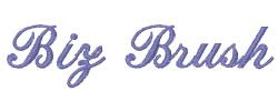 Biz Brush embroidery font