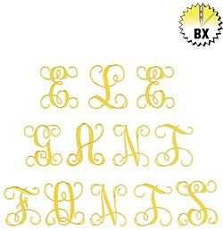 Elegant 4 inch Monogram 4in embroidery font