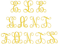 Elegant 4 inch Monogram embroidery font