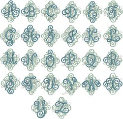 Adorn Solo Monogram Font embroidery font