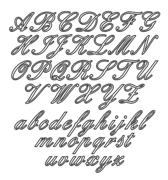 Outline script font embroidery annthegran