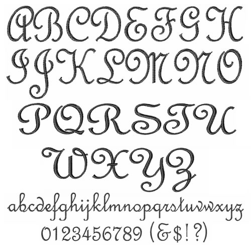 French Script Alphabet Embroidery Font