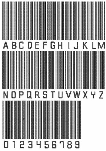 barcode embroidery font