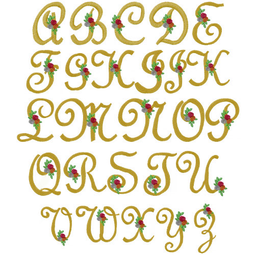 French floral embroidery font annthegran