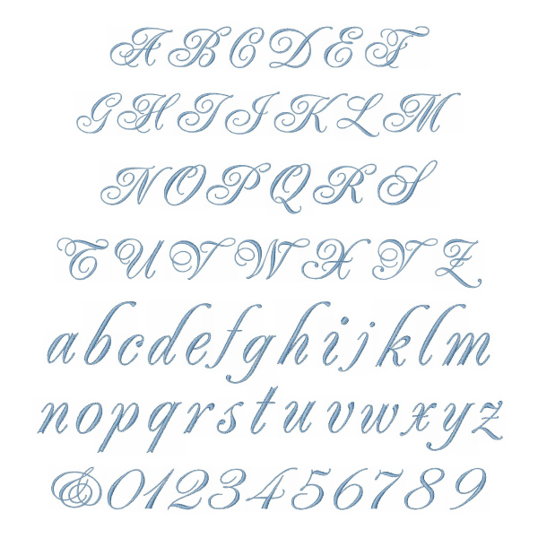 Home Format Fonts Embroidery Font: WEDDING SCRIPT from Great Notions