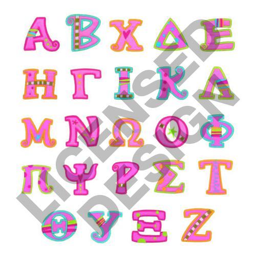 Girly Alphabet Fonts Girly Greek Applique E...