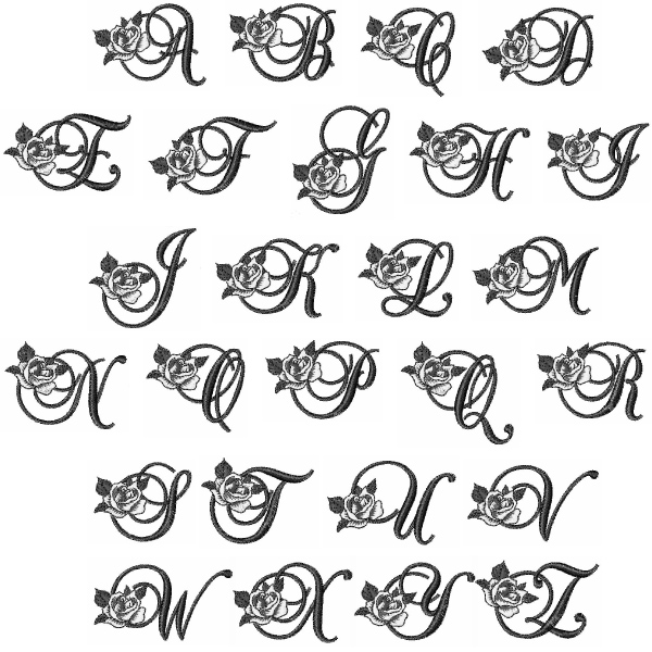 Download Rose Monogram Font Embroidery Font | AnnTheGran
