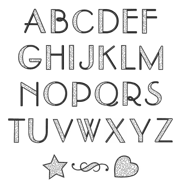 Stippled Alphabet Font Embroidery