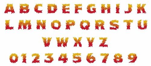 Fire Font Embroidery Font Annthegran