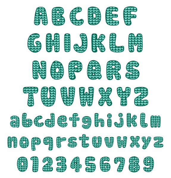 Knitting Embroidery Letters : Knit pattern font embroidery annthegran
