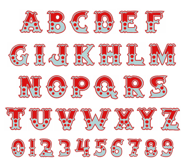 circus font embroidery font annthegran
