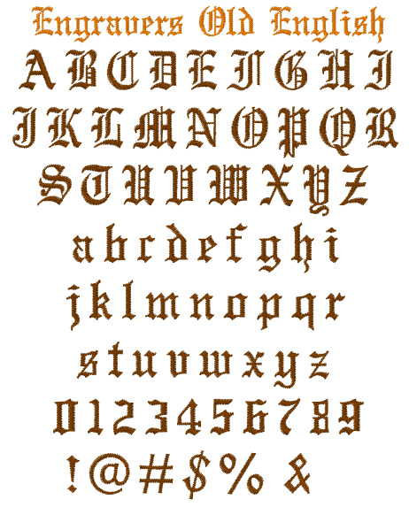 Engravers Old English Embroidery Font