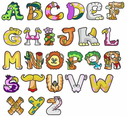 Dd animal alphabet embroidery font annthegran