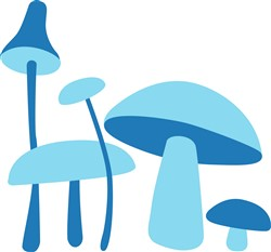 Blue Mushrooms Print Art