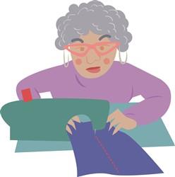 Sewing Grannie Print Art
