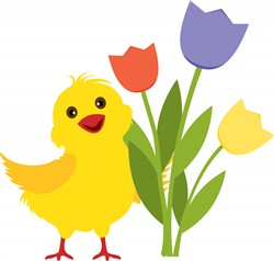 Chick with Tulips Print Art