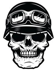 Biker Skull Print Art