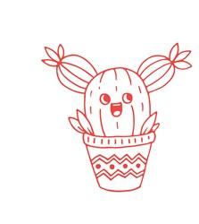 Redwork Cactus Print Art