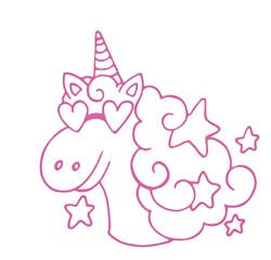 Unicorn Outline Print Art