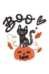 Halloween Cat Print Art