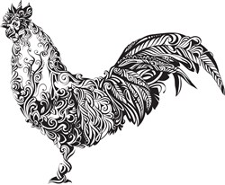 Swirly Rooster Print Art