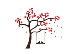 Love Birds Valentine Swing Print Art
