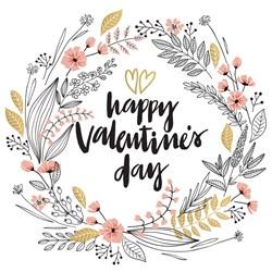 Happy Valentines Day Wreath Print Art