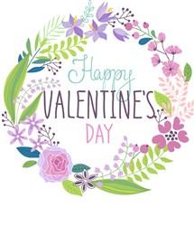Happy Valentines Wreath Print Art