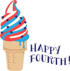 Happy Fourth Ice Cream Print Art