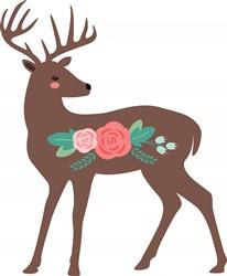 Flower Deer Print Art