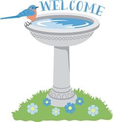 Welcome Bird Bath Print Art