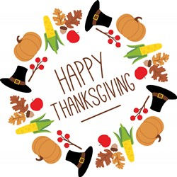 Happy Thanksgiving Wreath Print Art