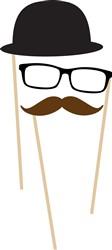 Mustache Glasses Hat Print Art