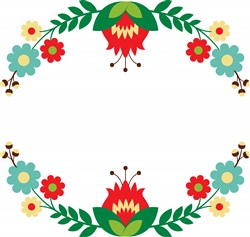 Folk Art Wreath Print Art