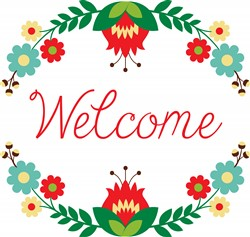 Welcome Floral Wreath Print Art