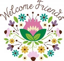 Welcome Friends Bouquet Print Art