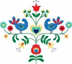 Bird Floral Print Art