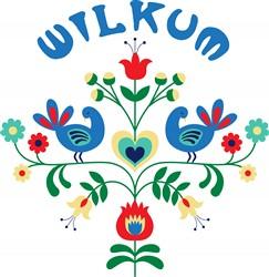 Wilkum Floral Border Print Art