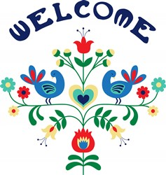Welcome Floral Border Print Art