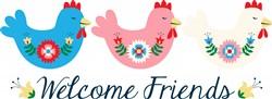 Welcome Chicken Border Print Art