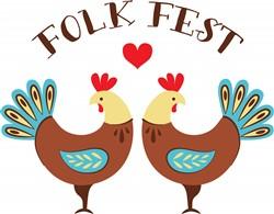 Folk Fest Roosters Print Art