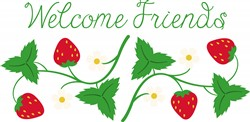 Welcome Strawberry Border Print Art
