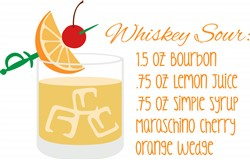 Whiskey Sour Recipe Print Art