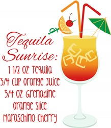 Tequila Sunrise Recipe Print Art