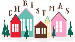 Christmas Houses Print Art