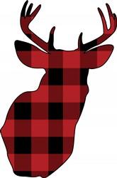 Plaid Deer Head Print Art