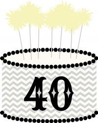40 Birthday Cake Print Art