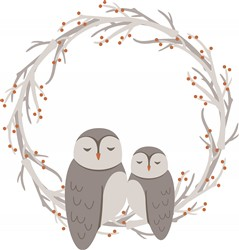 Owl Wreath Print Art