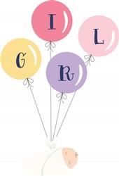 Girl Balloons Print Art