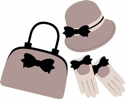 Purse Hat Gloves Print Art
